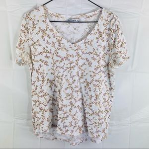 Just Jean White Floral Shortsleeve Top Size S